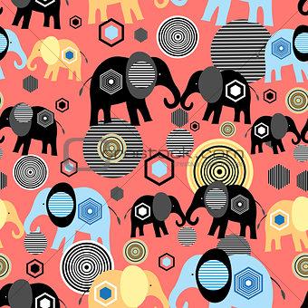 Valentine pattern of elephants