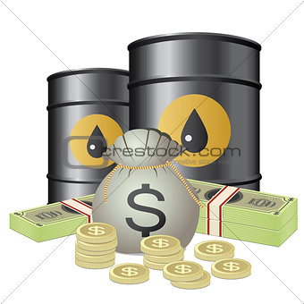 Oil barrels and money