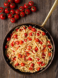 rustic spicy italian crab and cherry tomato spaghetti pasta