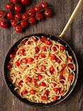 rustic spicy italian crab and cherry tomato spaghetti pasta