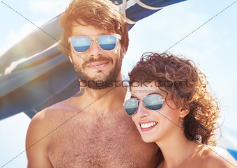 Beautiful couple on sailboat