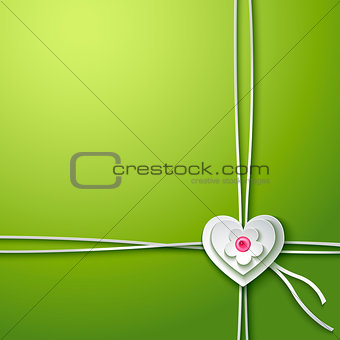 Background with paper heart and flower