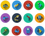 Set of electrical work tools icons