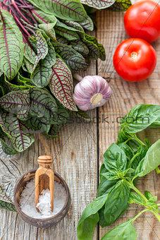 Tomatoes, garlic, sorrel and basil.