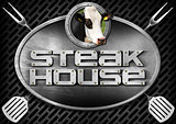 Steak House - Sign with Kitchen Utensils
