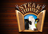 Steak House - Window with Cow