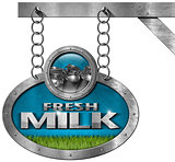 Fresh Milk -  Metallic Sign with Chain