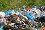 Garbage heap outdoor. Environmental pollution concept.
