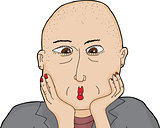 Surprised Bald Woman