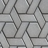 Gray Paving Slabs Built of Rectangles and Rhombuses.