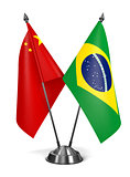 China and Brazil - Miniature Flags.