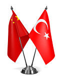 China and Turkey - Miniature Flags.
