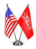 USA and Waziristan - Miniature Flags.