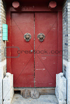 Chinese traditional door Hutong streets