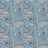 Hand drawn seamless pattern with wave, curl and triangle