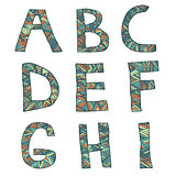 Hand drawn artistic font from lines, letters A-I