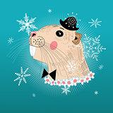 Portrait beaver hipster