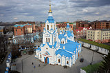 Aerial view on Znamensky Cathedral. Tyumen. Russia