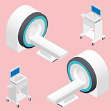 MRI and ECG medical devices isometric icon set