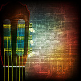 abstract grunge background with acoustic guitar
