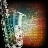 abstract grunge piano background with saxophone
