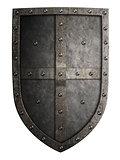 Big medieval crusader's metal shield isolated