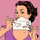 Woman letter love message Valentines day wedding pop art retro