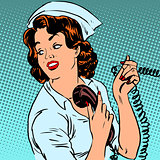 Nurse hospital phone health medical surgery style pop art retro