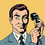 Male businessman talking on the phone style pop art retro