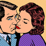 Woman hugging a sad man style pop art retro
