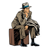 Male passenger waiting travel trip style retro