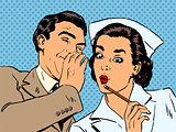 diagnosis patient nurse and male gossip surprise conversation st
