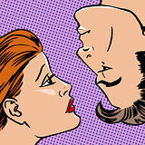 Girl and boy face love of youth beauty style art pop