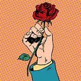 Flower red rose in his hand men love Bud art pop retro vintage