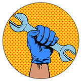 Sign of repair hand holding wrench symbol pictogram