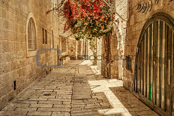 Ancient Alley in Jewish Quarter, Jerusalem.