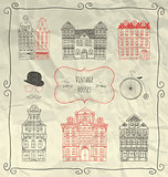 Vector Hand Sketched Vintage Old Styled Doodle Houses