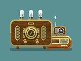 Vintage Radios in Flat Style