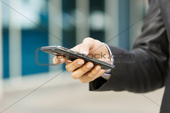 Business Man Reading E-mail On Phablet Smartphone