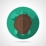 Sea turtle green round vector icon