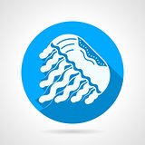 Jellyfish flat blue round vector icon