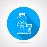 Line vector icon for milk bottle and glass