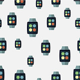 Vector seamless pattern of smart watches.