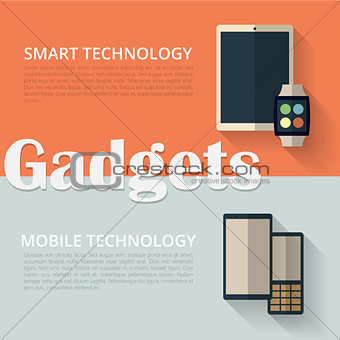Flat design banners. Tablet pc, smart watch and phones.