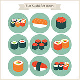 Flat Big Food Sushi Set Circle Icons