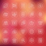 Money Finance Banking Circle Line Icons Set
