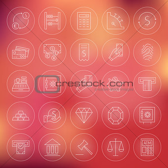 Money Finance Banking Circle Line Icons Set