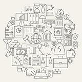 Money Finance Banking Line Icons Set Circular Shaped
