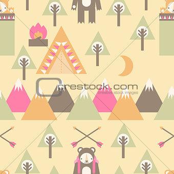 Camping Bear Pattern