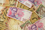 Ukrainian money in cash of different value